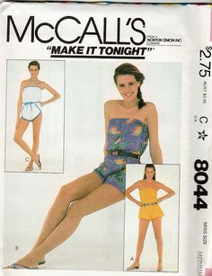 ad886c59fa1 Mccall s Misses  ONE Piece Pull-on Sunsuit-rompers. New Vintage Studio