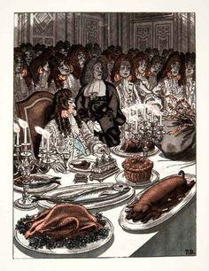 1959 Photolithograph Pierre Brissaud Art King Louis XIV France Royalty Feast