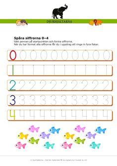 I den här uppgifterna ska barnen spåra siffrorna 0-9. Till varje siffra finns en startpunkt där barnen ska sätta pennan och forma siffrorna. Materialet består av tre sidor med spåraövningar som du kan använda beroende på förkunskaper och ålder. Med uppgiften utvecklar och förfinar barnen/eleverna sin handmotorik genom att följa siffrornas form. Detta för att underlätta för barnets skrivutveckling och formande av siffror. Class Rules, Montessori Math, Rock Crafts, Best Teacher, Teaching Math, Kids Learning, Homeschool, Crafts For Kids, Diy Projects