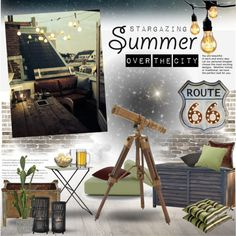 Summer Terrace - Stargazing by szaboesz on Polyvore featuring interior…