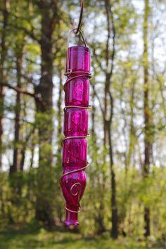 Skinny Hot Pink Recycled Bottle Hummingbird by DeeLuxDesigns, $17.00