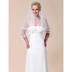 Two-tier+Elbow+Wedding+Veil+With+Ribbon+Edge+%E2%80%93+USD+%24+9.99