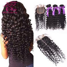 Maleisische Krullend Haar Met Sluiting, 3 Bundels Maleisische Virgin Haar Met Sluiting, Top Kwaliteit Krullend Weave Menselijk Haar met Sluiting