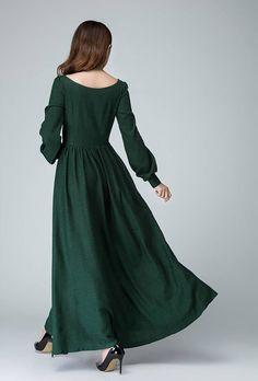 linen linen dress womens dress green dress long sleeve