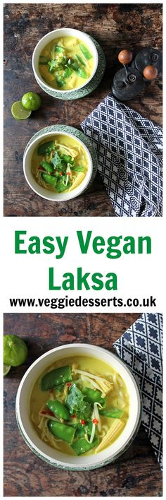 This easy vegan laksa (Malaysian soup) only takes just 10 minutes to prepare, and it's bursting with flavour from the coconut milk, chilli and turmeric. It's a filling meal, warming starter or easy side dish. Best Vegan Recipes, Vegetarian Recipes Easy, Real Food Recipes, Soup Recipes, Healthy Recipes, Amazing Recipes, Lunch Recipes, Recipies, Favorite Recipes