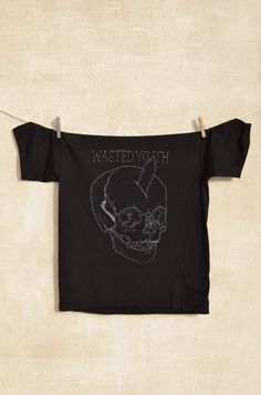 Wasted Youth T-shirt  White print on black t-shirt 100% cotton