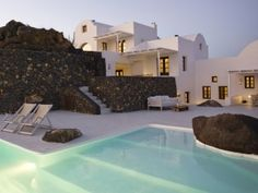 Aenaon Villas    Santorini, Greece  Style Contemporary curves  Setting Panoramic paradise    Aenaon Villas hotel is a series of sugar cubes on Santorini, sat in honeymoon-perfect seclusion between Imerovigli and Oia.  $395 Doubles