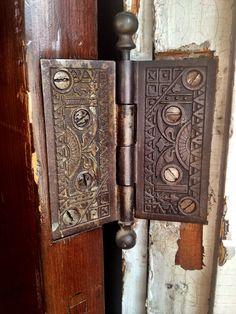 antique edwardian brass door handle plates pulls pair set old