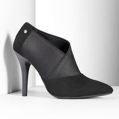 Simply Vera Vera Wang Women's Stretch High Heel Shooties ($37) ❤ liked on Polyvore featuring shoes, boots, ankle booties, black, short black boots, black booties, short boots, ankle boots and black bootie