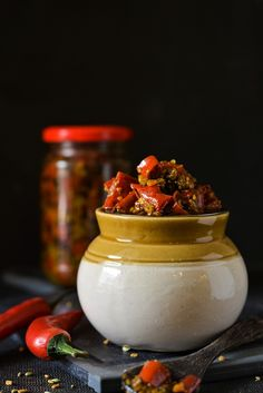 Easy Red Chili Pickle-laal mirch ka achar-A very special,delicious and tangy Fresh Red Chili Pickle - Specialty Of Uttar Pradesh Indian Food Recipes, Vegetarian Recipes, Cooking Recipes, Indian Pickle Recipe, Homemade Spices, India Food, Garlic Recipes, Masala Recipe, Red Chili