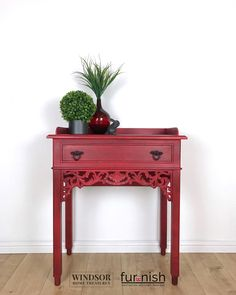 Small Vintage Console Table in Red with Drawer