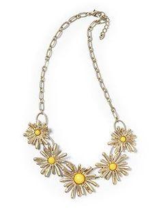 Sabine Gold Flower Statement Necklace   Piperlime $32