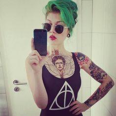 Green hair updo
