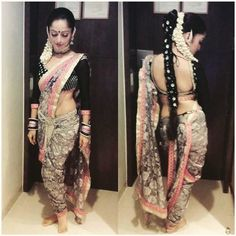 Love this Maharashtrian style draping of saree and the blouse. The style in Nauvari Saree. #braid #hairstyle #gajra