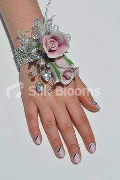 Glamorous Pink Fresh Touch Rose Wedding Wrist Corsage w/ Crystal Sprays
