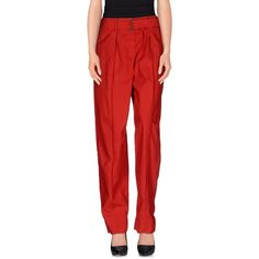 Lemaire Casual Trouser ($245) ❤ liked on Polyvore featuring pants, red, high waisted trousers, high waisted wide leg pants, cotton pants, wide leg pants and wide leg cotton pants