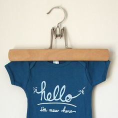 Funny text baby onesie  Hello I'm New Here 36 mo  teal by eggagogo, $18.00