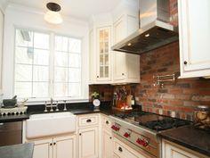exposed brick work kitchen