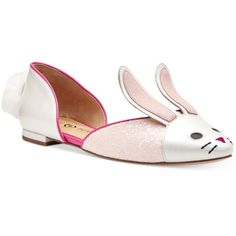 Katy Perry Jessica Bunny Flats ($64) ❤ liked on Polyvore featuring shoes, flats, bunny, easter egg, egg, baby pink, flat pump shoes, bunny shoes, flat heel shoes and pink baby shoes