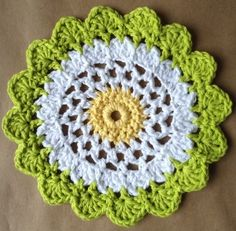 Moon Flower Dishcloth. From: BestFreeCrochet.com