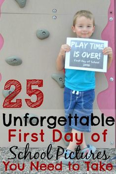 Inspiration for First Day of School Pictures! If you are looking for first day of school picture ideas to stand out, this round up is for you! Here are 25 unforgettable first day of school pictures you need to take! First day of school, funny first day of 1st Day Of School Pictures, Funny School Pictures, School Photos, School Portraits, Preschool First Day, Kindergarten First Day, Kindergarten Lesson Plans, Starting Kindergarten, First Day Of School Outfit