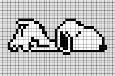 Snoopy 1 Pixel Art - Snoopy is Charlie Brown's pet beagle in the comic strip Peanuts by Charles M. Bead Loom Patterns, Perler Patterns, Beading Patterns, Cross Stitch Patterns, Diy Perler Beads, Perler Bead Art, Easy Pixel Art, Graph Paper Art, Pixel Art Templates