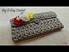 CROCHET How To #Crochet Puffed Star Stitch Clutch Wallet Purse #TUTORIAL #304 LEARN CROCHET - YouTube
