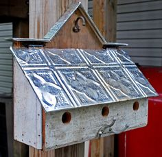 3 unit barn style bird house with reclaimed materials by nelotcram, $129.00