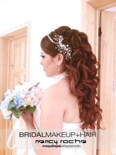Peinado de novia #peinadodenovia #peinadolargo #bridehairstyle FACEBOOK: https://www.facebook.com/pages/Nancy-Rocha-maquillaje-alto-peinado/188686741169231?ref=hl