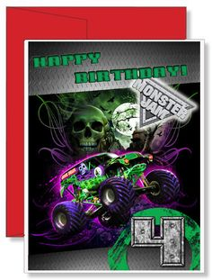 Personalized Birthday Greeting Card Grave Digger Monster Truck Monster Jam