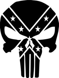 The Punisher Confederate Rebel Flag Logo Skull decal vinyl sticker Skull Stencil, Skull Art, The Punisher, Punisher Skull Decal, Punisher Tattoo, Punisher Comics, Marvel Comics, Flag Coloring Pages, Confederate Flag