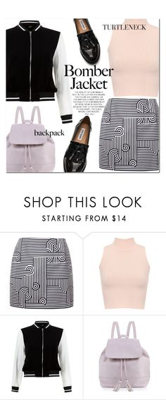 """""""Bomber Jacket and Turtleneck"""" by cowseatchard ❤ liked on Polyvore featuring Victoria, Victoria Beckham, WearAll, New Look, Neiman Marcus and Steve Madden"""