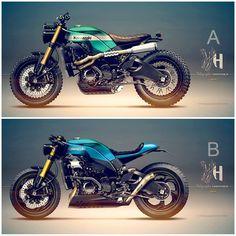 "Kawasaki ZX10R 2008 Cafe Racer - Street Tracker Design ""Kawazaki"" - Baru Motor Sport by Holographic Hammer #motorcyclesdesign #diseñodemotos | caferacerpasion.com"