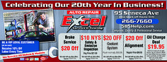 Excel auto coupons on car repairs and maintenance! Oil change, lube and filter, NYS Inspection. Rochester NY www.585help.com/towing.html