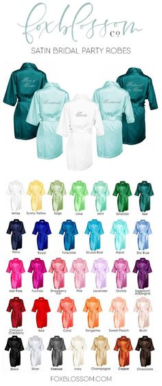 Gorgeous satin robes with sparkling rhinestones | A bridesmaid gift your girls will love! Wear for getting ready on your wedding morning. shop at www.foxblossom.com Women, Men and Kids Outfit Ideas on our website at 7ootd.com #ootd #7ootd
