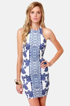 Porcelain Doll Blue and White Print Halter Dress
