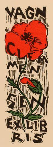 Ex libris by Tibor Moskal for Vagn Clemmensen, 1972