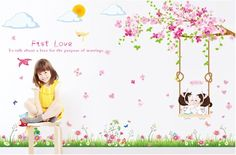 Romantic Pink Sakura Wall Stickers Cherry Blossoms Tree Girls Room Wall Decal 160*110cm