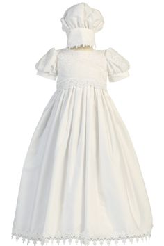 Dimensional Flowers & Embroidery Cotton Christening Gown (Kayla)