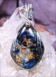 Wire Wrapped PIETERSITE with Quartz Window Pendant in Argentium 935 Silver Pietersite Wire Wrap Wire Wrapped Pendant by CrawfordStones on Etsy