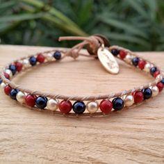 Bead bracelet women, Beaded Swarovski bracelet, Swarovski pearl bracelet, Beaded jewelry handmade, Swarovski pearl wrap leather bracelet