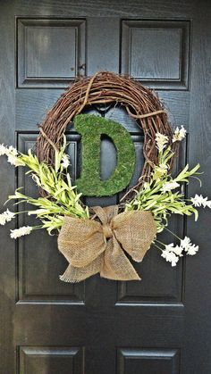 Welcome Spring, Hello Summer, Let's Get Married Wreath, With Moss covered Monogram