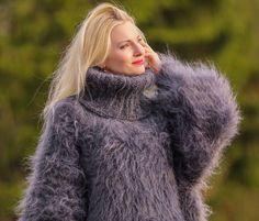 Grey hand knit mohair sweater fuzzy thick turtleneck long dress SUPERTANYA #SuperTanya #TurtleneckMock