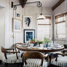 """Viva La Vintage! A Ralph Lauren dining set from """"way back when"""", still looking sharp today! I'm loving the contrast with the rustic setting"""