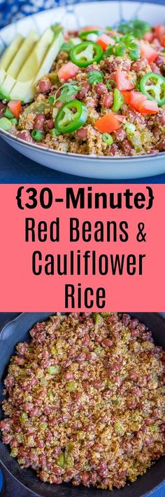 This Red Beans and Cauliflower Rice is a delicious and flavorful 30 Minute vegan dinner! It's made with cauliflower instead of rice making it super healthy too! Vegetarian-Dinner-Vegan-Gluten Free-30 Minute