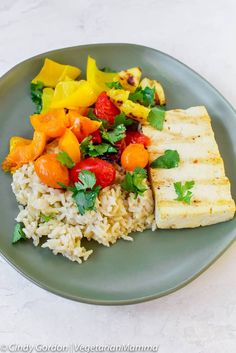 Healthier Grilled Sweet and Sour Tofu with Vegetables - This isn't your typical sweet and sour tofu, this is a healthier recipe. We lightened up the sauce and we know you will love this grilled sweet and sour tofu with vegetables! Tofu Recipes, Vegan Dinner Recipes, Entree Recipes, Vegan Dinners, Dairy Free Recipes, Vegetarian Recipes, Healthy Recipes, Delicious Recipes, Vegan Vegetarian