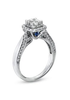 Vera Wang LOVE Collection - 7/8 CT. T.W. Princess-Cut Diamond Double Frame Engagement Ring in 14K White Gold  18637686 by Vera Wang LOVE at Zales // More from Vera Wang LOVE at Zales: http://www.theknot.com/gallery/wedding-rings/Vera Wang LOVE at Zales