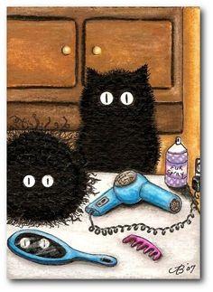 PeekBoo Black Cats Fur-do Hairdresser Bathroom ArT #25 -by BiHrLe ACEO & Prints #BookArtIllustration