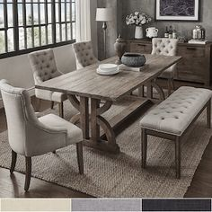 Kitchen table sets with bench and chairs – buying tips Paloma Salvaged Reclaimed Pine Wood Rectangle Dining Set by iNSPIRE Q Artisan Dining Room Sets, Dining Room Design, Dining Chairs, Dinning Room Bench, Dining Set With Bench, Rectangle Dining Table, Kitchen Table With Bench, Dinning Room Ideas, Beige Dining Room