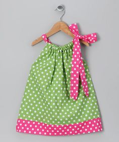 Take a look at this Lime Polka Dot Dress - Infant, Toddler & Girls by Molly Pop Inc. on #zulily #fall today!